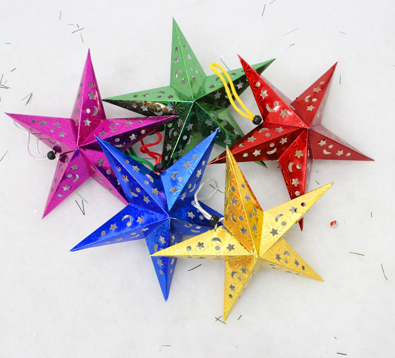 Stock five-pointed star Christmas hanging Christmas Tree Ornament from china manufaturer