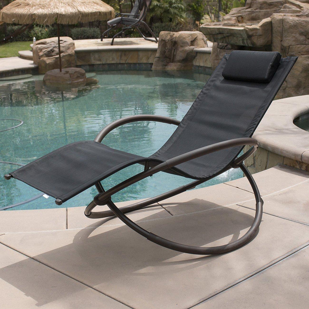 Gentil Belleze Zero Gravity Orbital Lounger Rocking Chair Outdoor Patio Yard  Furniture, (Black)