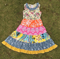 Newest 2016 boutique floral printed girl dress cotton beautiful gowns for kids cutting puffy sleeveless children frock designs