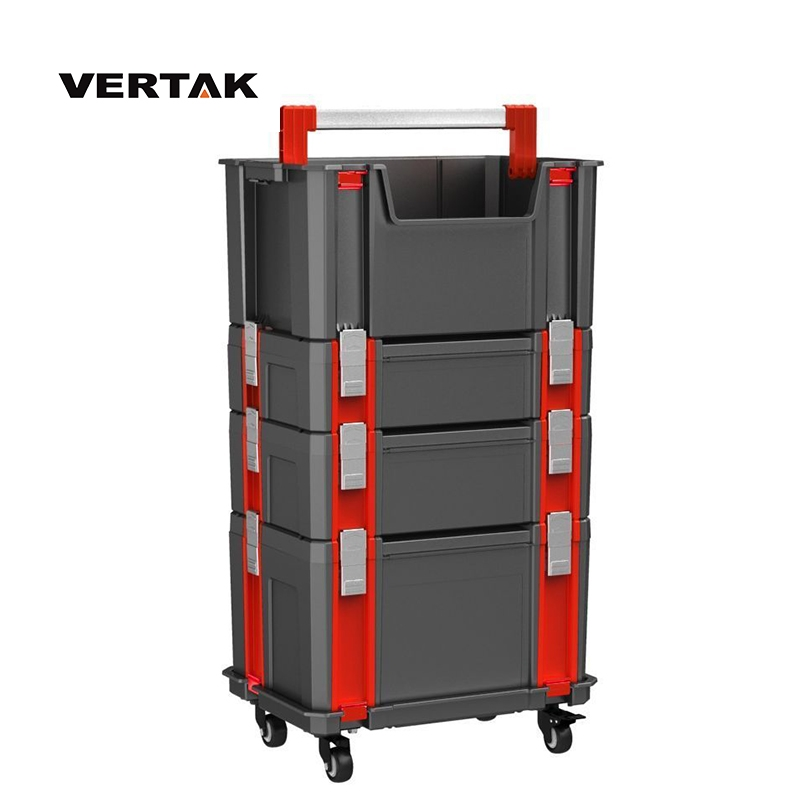 VERTAK professional stackable empty plastic tool case trolley with wheels Aluminum handle and lock