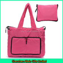 Zipper top lightweight nylon tote bag, pink collapsible tote bag