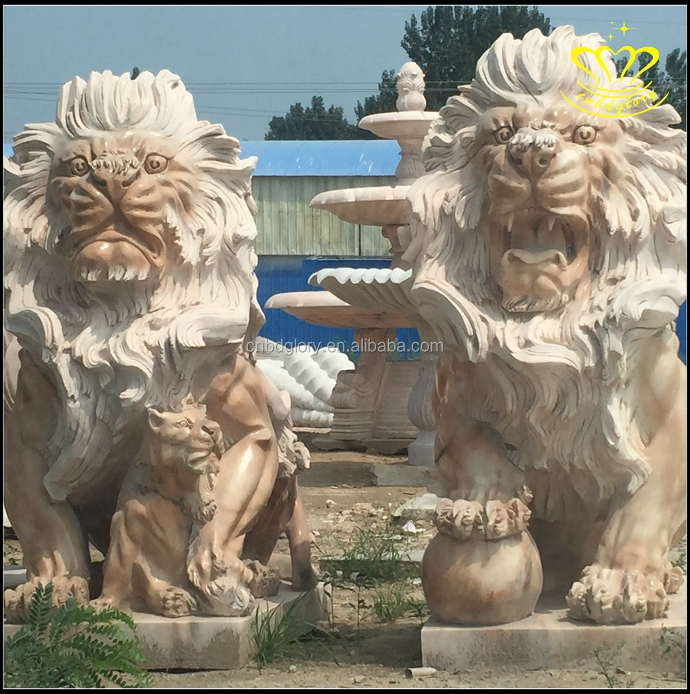 Custom make all kinds of marble animal European modern stone lion sculpture