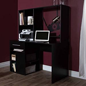 Office Student Workstation Desk with Hutch, Adjustable Shelves, Storage Drawer, 4 USB Ports, Wire Management, Extra Space, Organizer, Ideal for Home Office, Work Space, Student, Dorm, Black Color