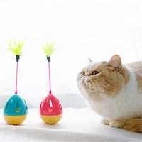 Amazon hot sale High Quality Funny interactive kitten teaser Ball Cute chaser feather small bell inside Tumbler cat toy