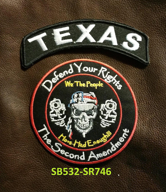 TEXAS Defend Your Rights Small Badges Set for Biker Vest