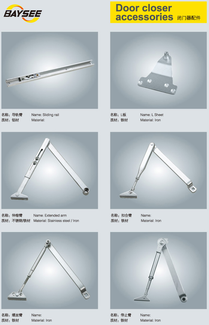 Hydraulic Arm Door Detail : Die casting aluminum hydraulic security hold open arm door
