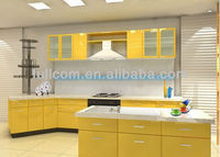 Avant-garde high gloss yellow wood kitchen cabinet