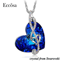 Eccosa star necklace for women crystal from swarovski heart necklace pendant
