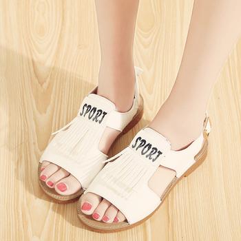 9dba515894 2017 popular do verão borlas senhora sandália plataforma fivela sapatos de  sola ...