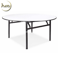Wholesale Outdoor Event Used Round Metal Frame Wood Folding Table