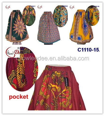 2017 many style in stock high quality C1110-4 african women print skirts