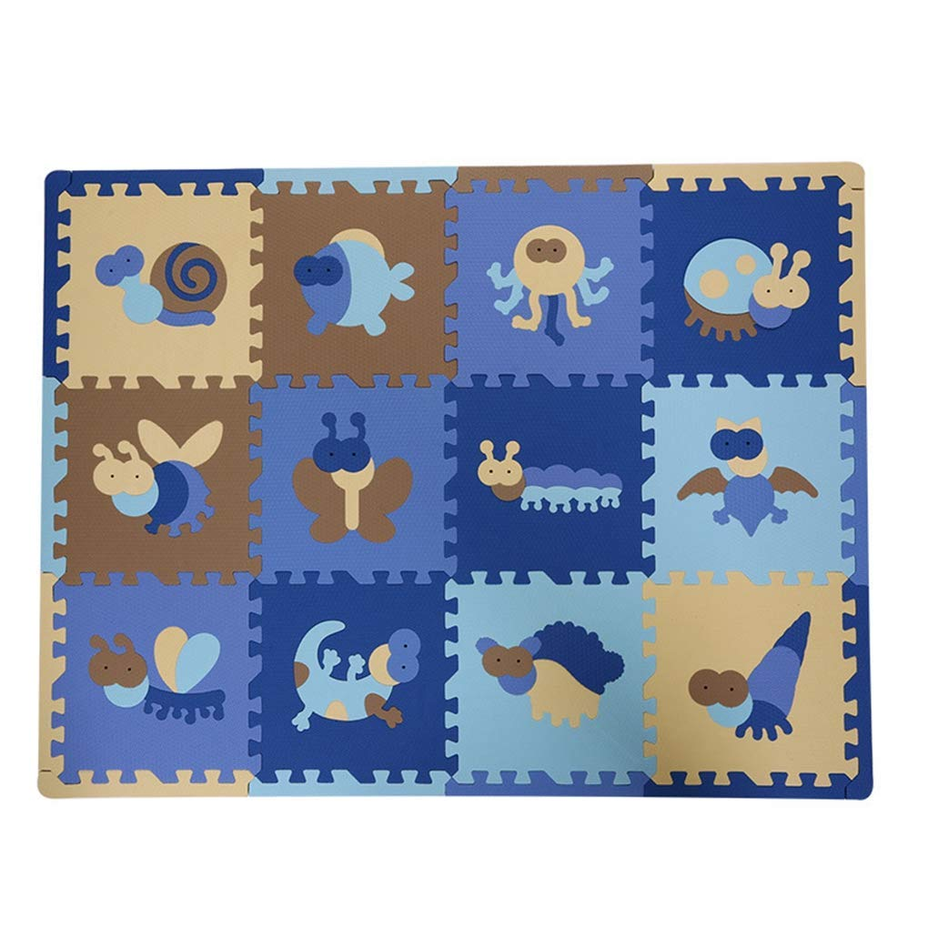RXIN Kids Foam Play Mat 12pcs/Set Kawaii Baby Playmat Cartoon Animal Soft EVA Foam Puzzle Play Mat Floor Crawling Carpet Children Kids 30x30x1.3 cm
