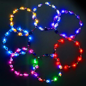 Hot sale party supply light up led hawaiian flower leis necklace