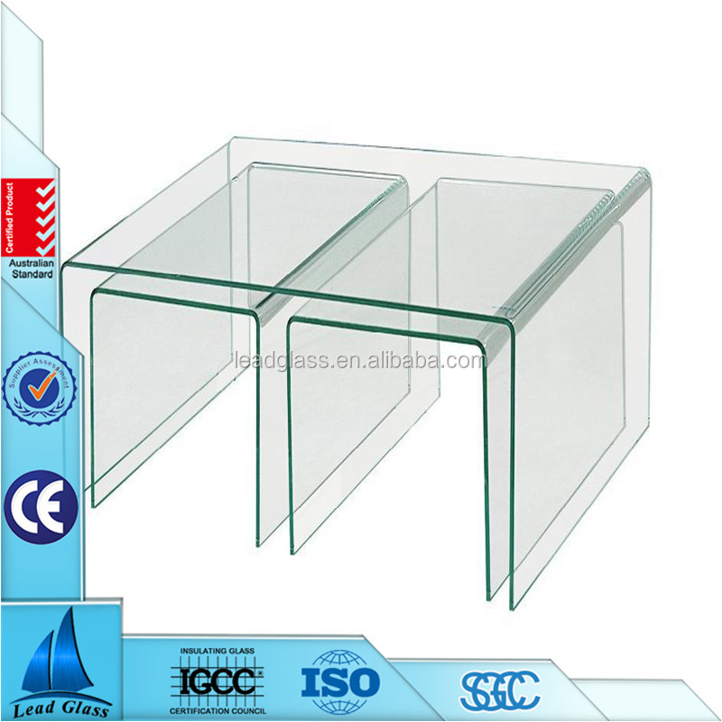 5mm 8mm 10mm curved glass panels/ bent glass coffee table