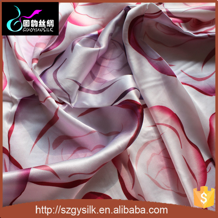 2015 New Style Beautiful Printed Duchess Satin Silk Fabric