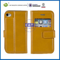 C&T Clear window defender folio book kind leather flip case for iphone4/4s