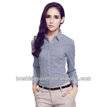 e8550ccab43549 Women Office Wear Strip Slim Fit Dress Shirts Of Long Sleeve - Buy ...