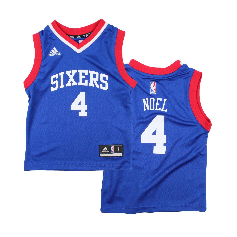 Philadelphia 76ers Nerlens Noel # 4 NBA Kids Little Boys Away Replica Jersey - Blue