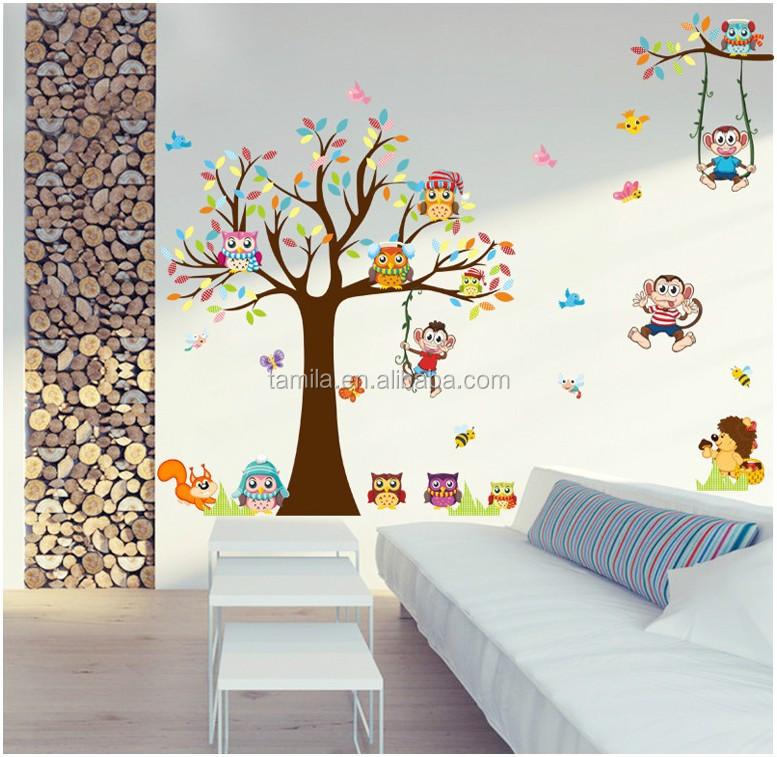 hutan hutan hewan dengan monyet owl bagan dinding decal wall sticker