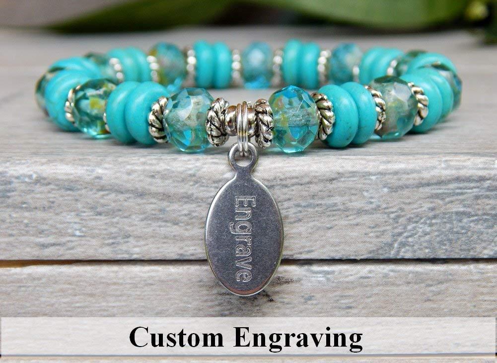 Turquoise Bracelet Custom Engraved Jewelry Beaded Personalized