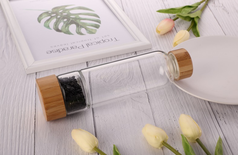 Glass and Stainless Steel or bamboo Includes Protective Sleeve Glass crystal bottle water