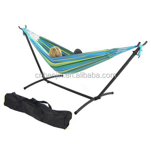Hot Selling New Outdoor Indoor Free Standing Steel Hammock Frame Cotton Swing Sleep Hammock Double Portable Camping Hammock