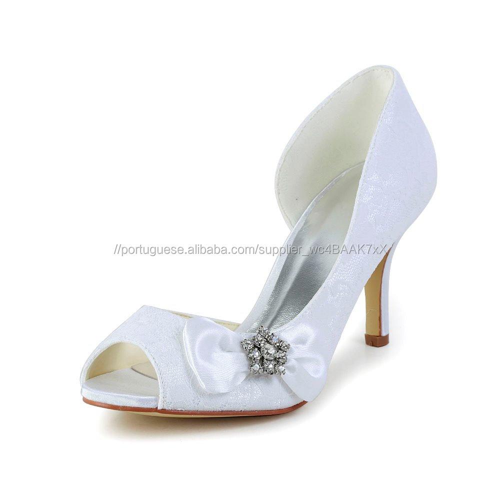 5e8bbcd297 Atacado pedra de cristal arco sapatos de noiva branco rendas peep toe  calçados de casamento fabricante