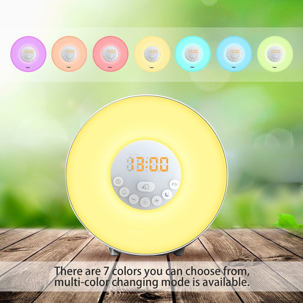 Sunrise Alarm Clock,Wake Up Light with 6 Nature Sounds, FM Radio, Touch Control and USB Charger