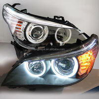 For BMW for E60 523i 525i 530i LED Head Light CCFL Angel Eyes 2005-2007 year for original car with halogen lamp LF