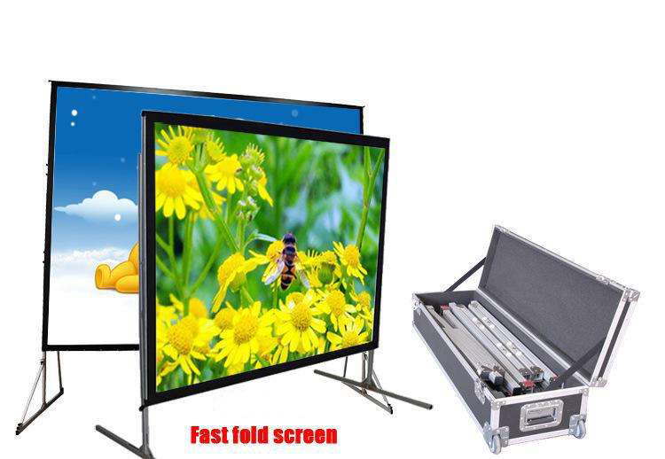 Outdoor portable Fast fold projector screen 150inch 16:9
