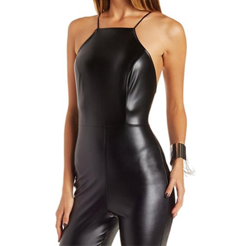 2ea03defd4f8 Womens Sexy Onesie Jumpsuit Racer Front Backless Faux Leather Jumpsuit  HSJ9072