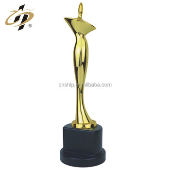 Wholesale zinc alloy metal gold trophy with wooden base