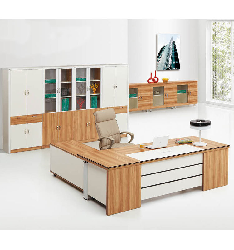 Maple And White Wood Office Desk With Long Cabinet