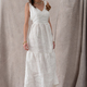 Fashion Sexy Sleeveless Cotton Linen White V Neck Women Dress