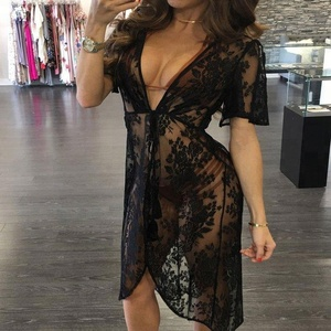 New Custom  V-neck Lace Bikini Cover Up Women Swimsuit Cover up Beachwear Beach Tunic Sarong Bathing Suit Coverups