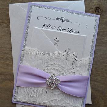 Licht Lila Band Und Silber Glitzer Hochzeit Einladungskarten Mit  Antwortkarte Und Umschlag