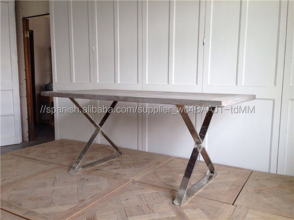 Madera de olmo muebles modernos de acero inoxidable mesas for Diseno de muebles de madera modernos