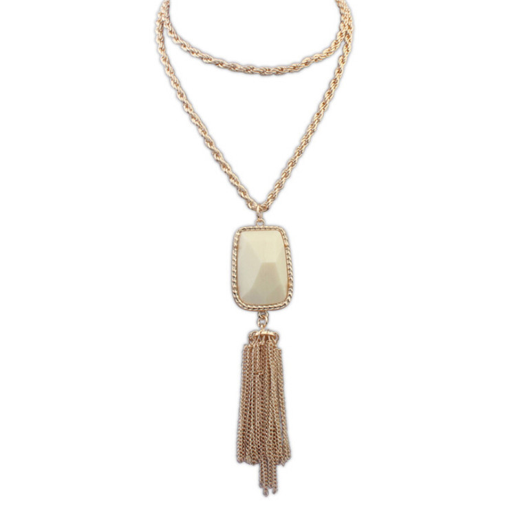Fashion long tassel necklace alloy necklace pendent design for woman