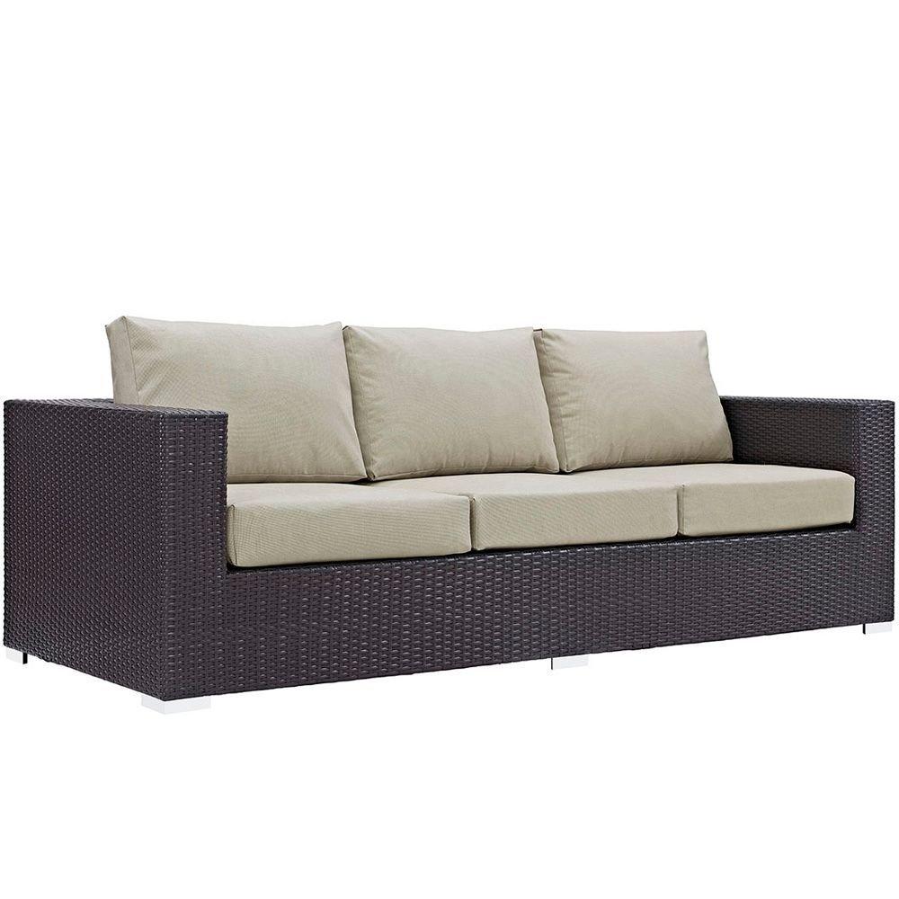 "Outdoor Patio Sofa Dimensions: 35.5""W x 88""D x 25.5-33.5""H Weight: 130 lbs Espresso Beige"