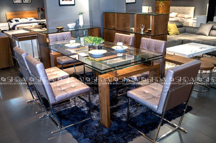 Moderno de vidrio de mesa comedor con sillas 6/comedor de madera set ...