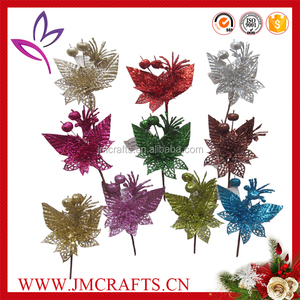 Glitter spray pick Christmas decoration artificial poinsettia flower