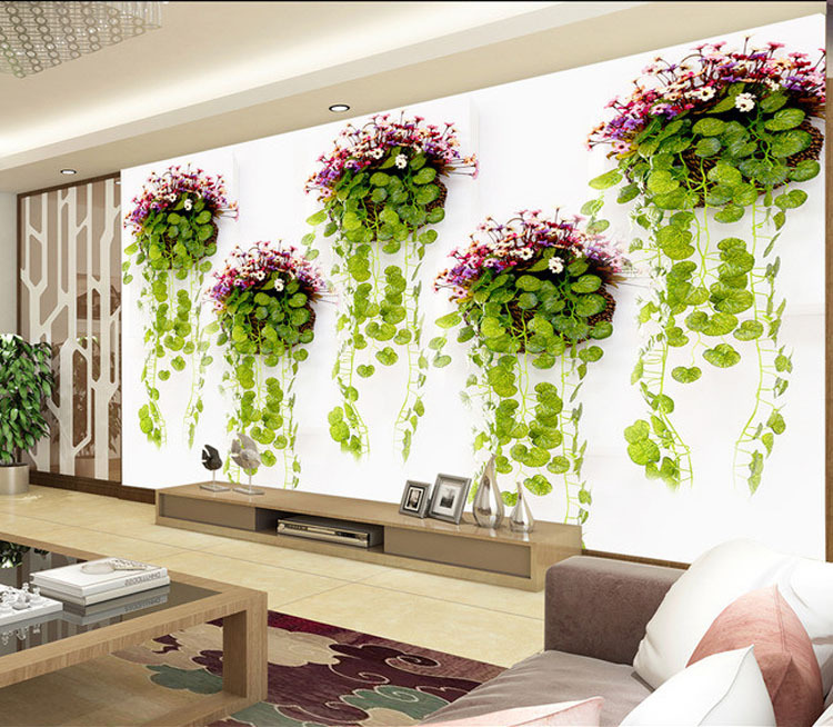Elegant Wallpaper For Wall: Natural Scenery Photo Wallpaper Green Plants Wall Mural 3D