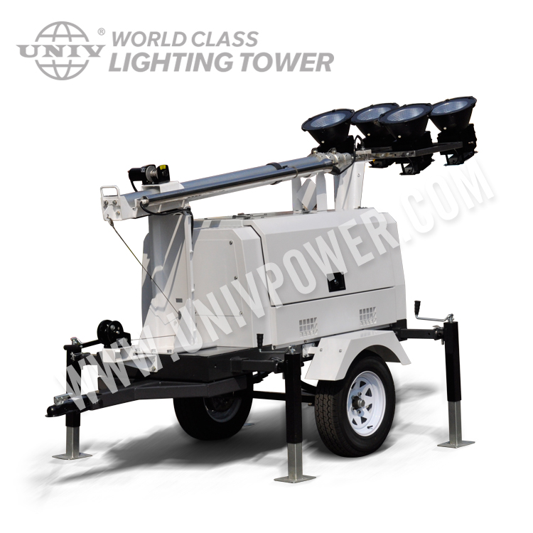 Hight mast gasoline lighting tower for mining construction road highway mobile generator light tower