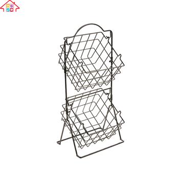 Wire Vegetable Basket | Wire Storage Rack 2 Tier Kitchen Fruit Vegetable Basket Organizer