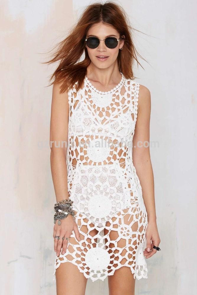 Sexy Crochet Vestidos Blancos Vestidos Casuales