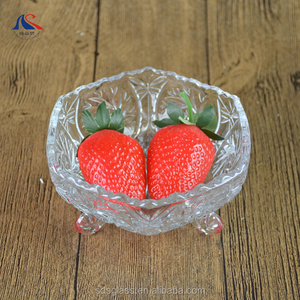 Home and Office Use Hexagon Small Crystal Glass Fruit Salad Tray on Foot