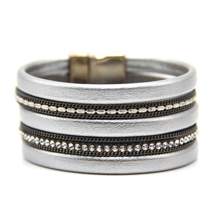 Silver Fashion Soft PU Leather Bracelet with Crystal Beads with UV Plated Magnetic Claps Color not fade Bracelets