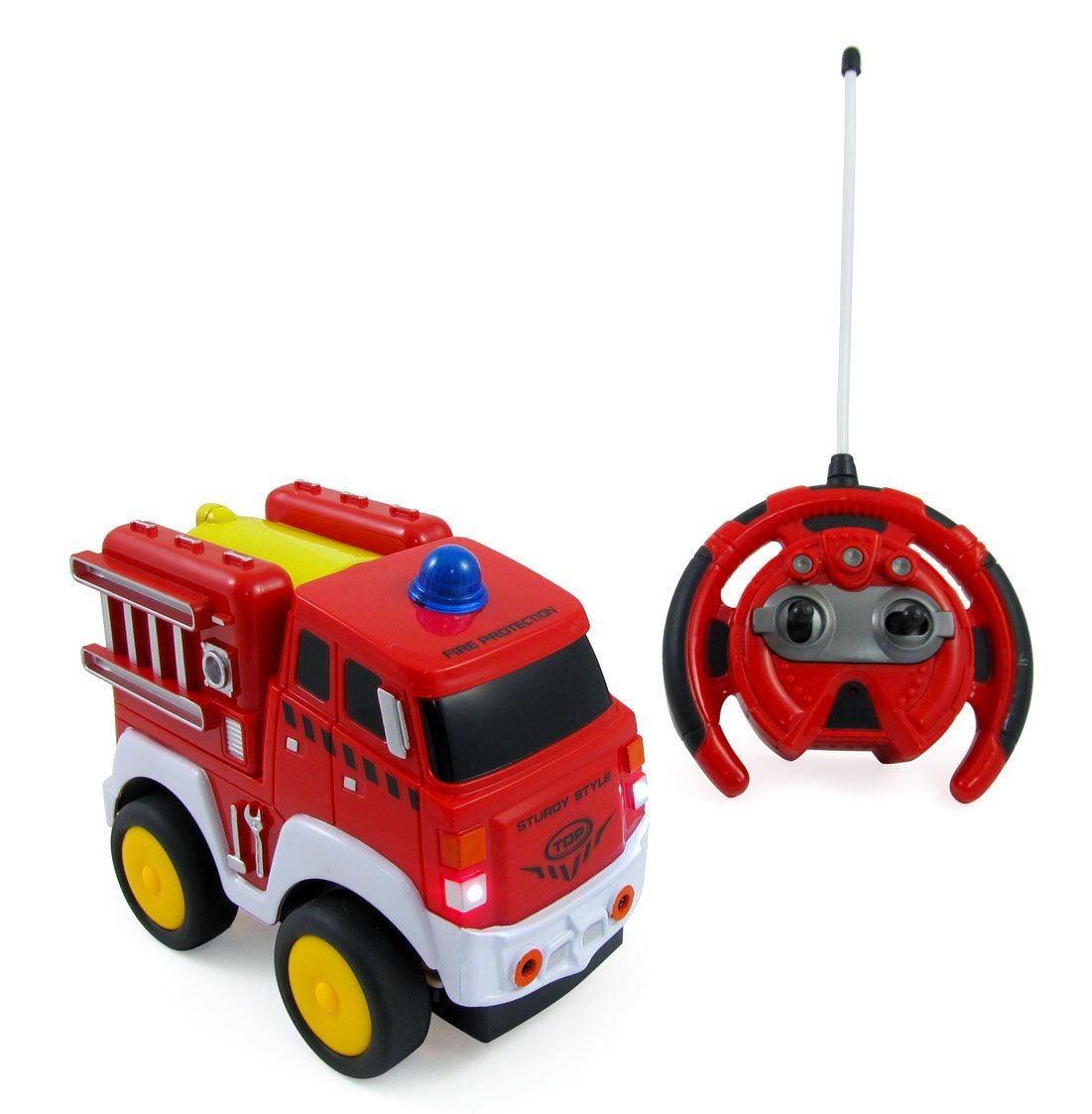 Liberty Imports My First RC Fire Engine Truck 4CH Radio Control Toy Car | Steering Wheel Remote with Lights and Sounds | Ideal for Toddlers, Children, Kids