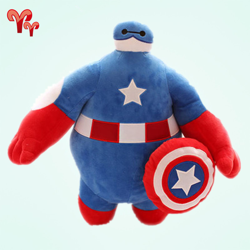 Hot Big Size 90cm Big Hero 6 Baymax Cartoon Movie Plush Dolls Toys Stuffed Toys Gift for Children Iron Man and Captain America