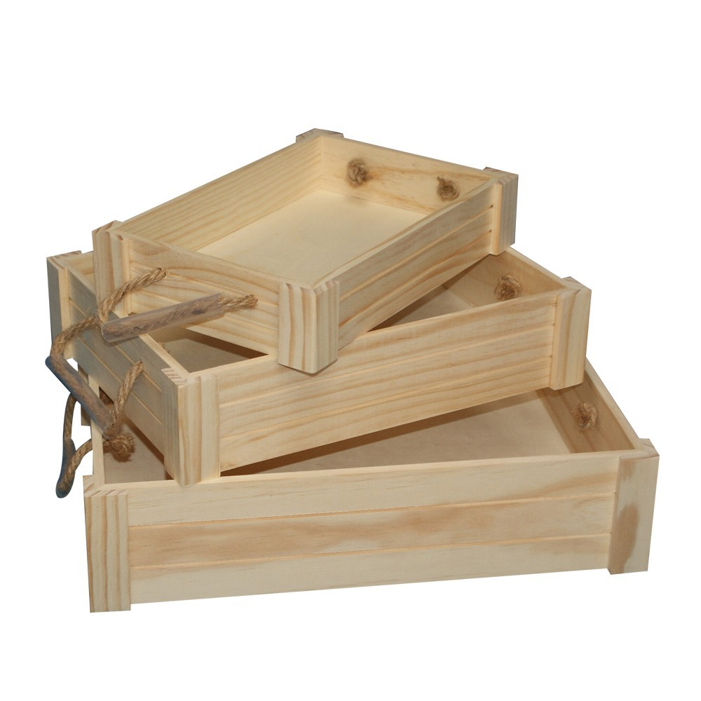 Unique handmade fruit craft decor wholesale boxes/basket/wooden apple crates  made in china